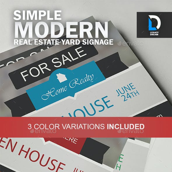 Simple Modern Real Estate Yard Signage