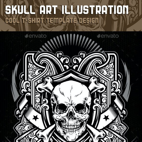 Skull Art Illustration Tshirt Template Design