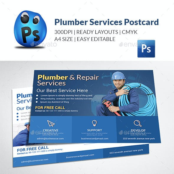 Plumber Service Postcard Template