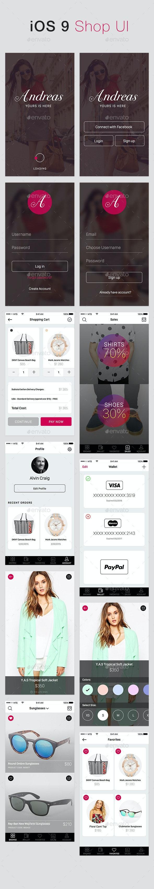 iOS 9 UI Shop - User Interfaces Web Elements