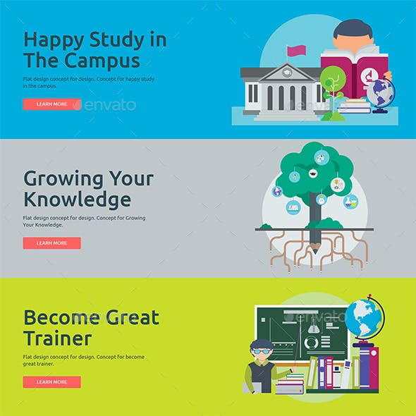 Flat Concept Banners for Education 2
