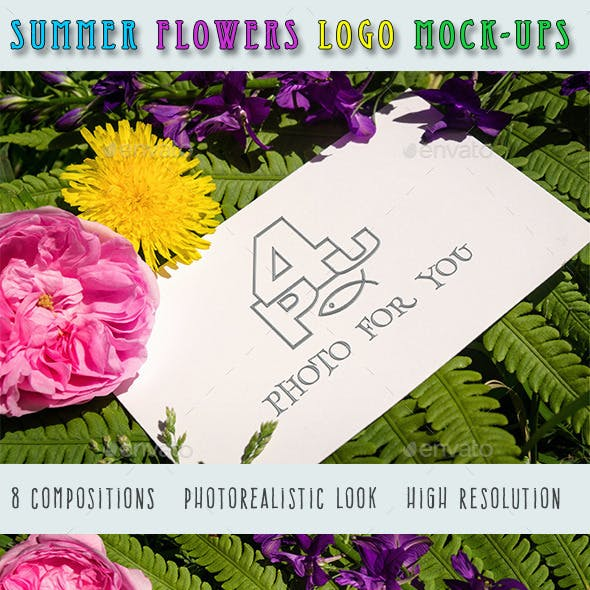 Summer Flowers Logo Mock-Ups