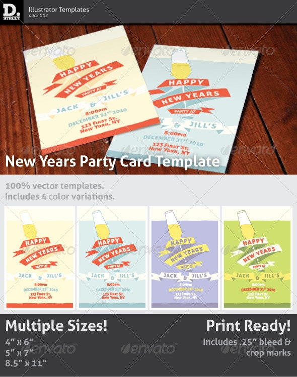 New Years Party Card - Holidays Events