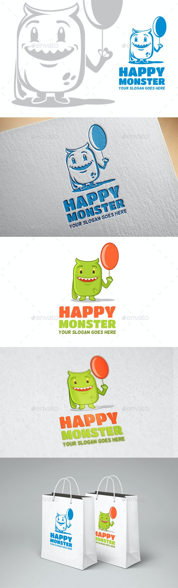 Happy Monster Logo - Animals Logo Templates