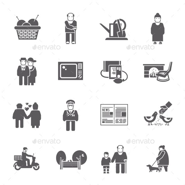 Pensioners Life Icons Set