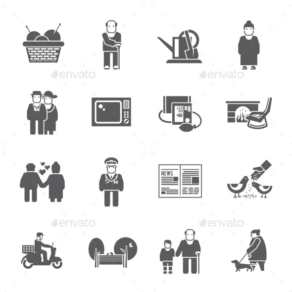 Pensioners Life Icons Set - People Characters