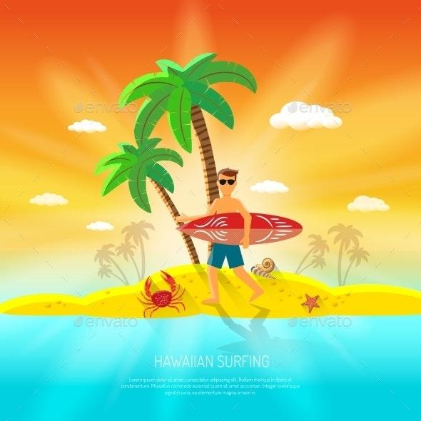 Surfing Beach Concept - Backgrounds Decorative