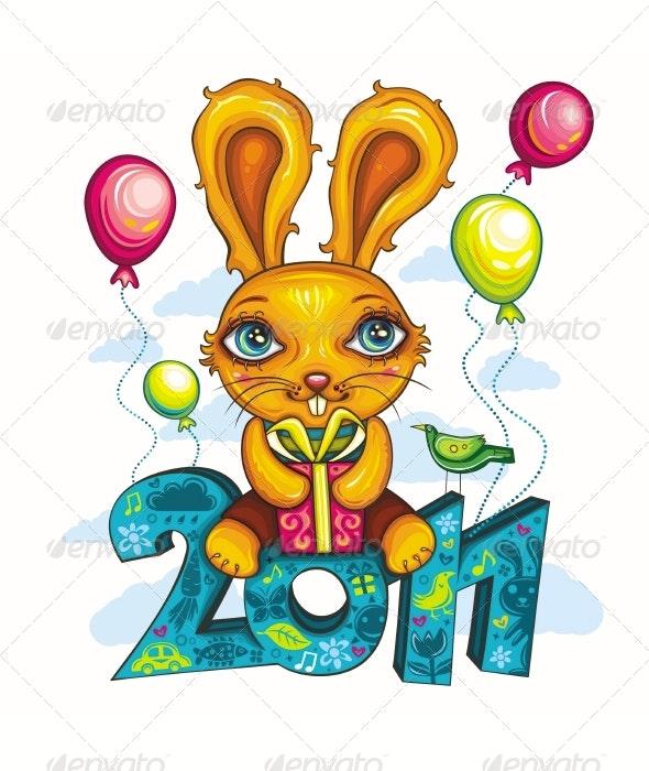 Funny cartoon bunny - New Year Seasons/Holidays