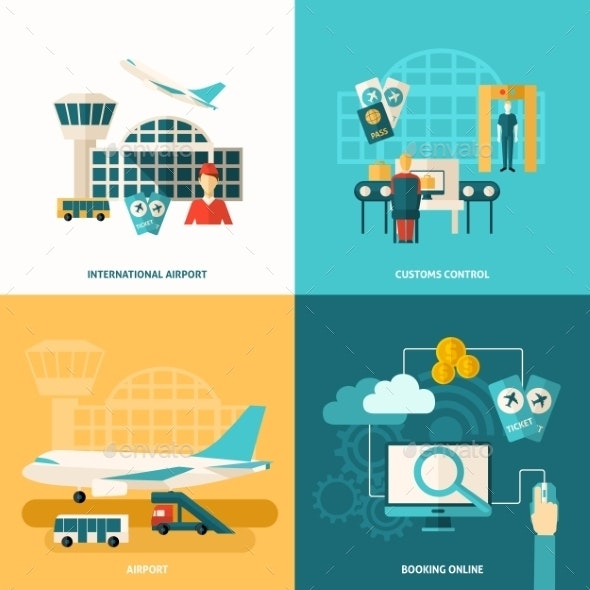 Airport Icon Flat - Travel Conceptual