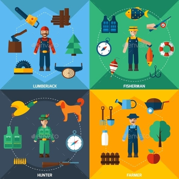 Nature Management Professions Icon Set - People Characters