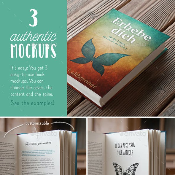 Authentic Book Mockups Vol. 01 - Hardcover