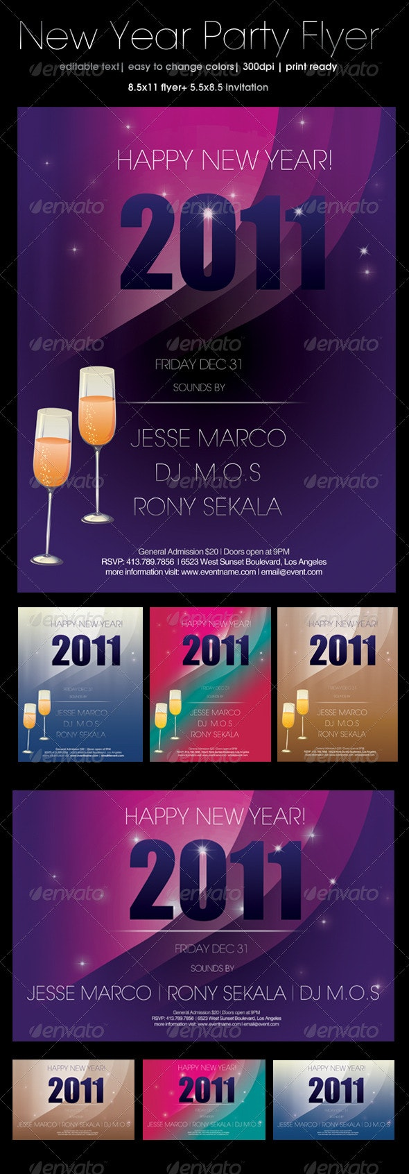 New Year's Party Flyer and Invitation - Holiday Greeting Cards
