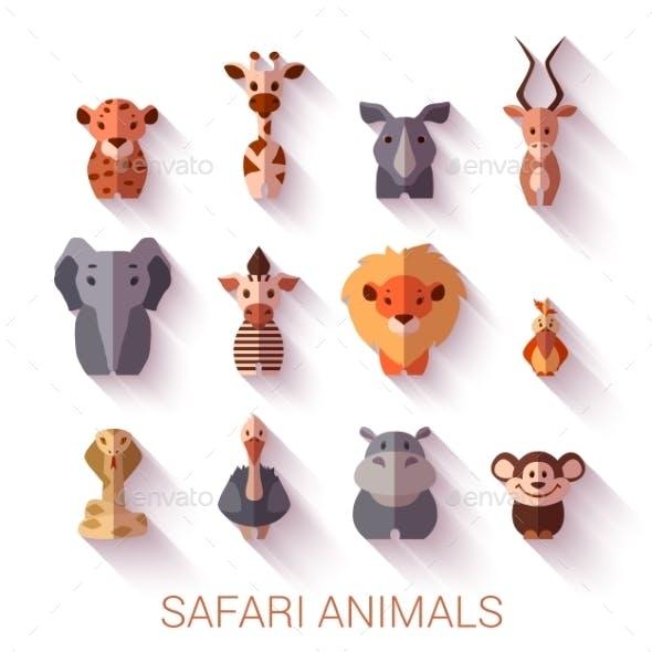 Set Of Safari Animals. Flat Style. Vector