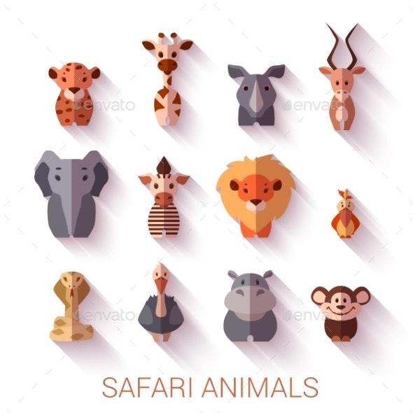 Set Of Safari Animals. Flat Style. Vector - Animals Characters