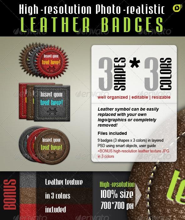 Leather Badges - Badges & Stickers Web Elements