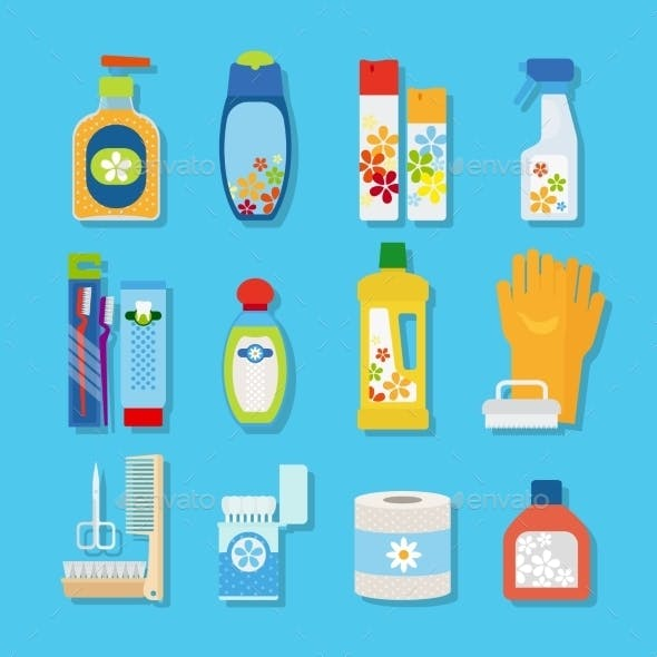 Hygiene And Cleaning Products Flat Icons