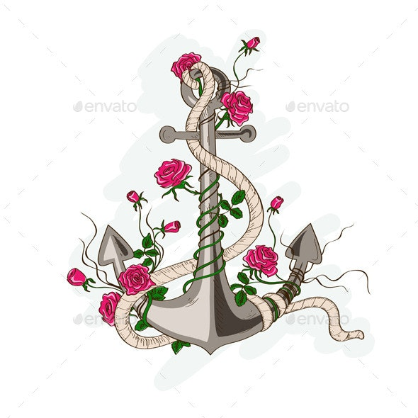 Sea Anchor Entwined with Rose Flowers. - Miscellaneous Vectors
