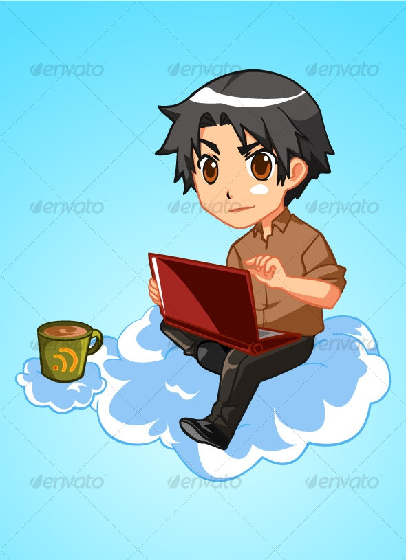 Cloud Blogging Guy - People Characters