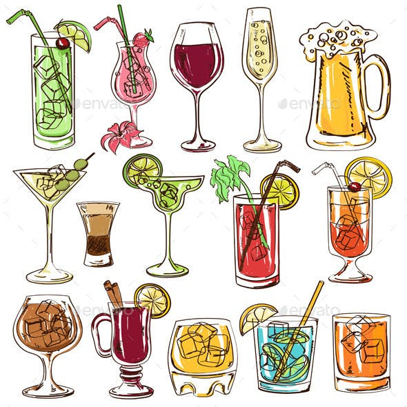 Set of Isolated Colorful Cocktails.