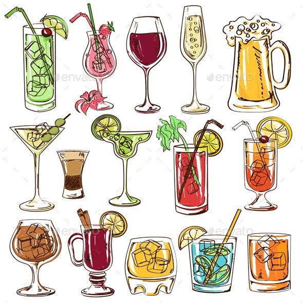 Set of Isolated Colorful Cocktails. - Food Objects