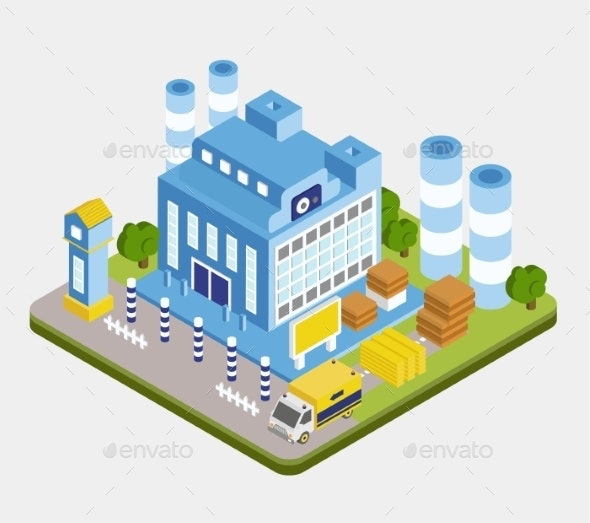 Vector Isometric Factory Building  - Buildings Objects