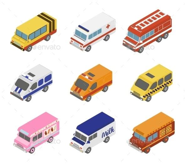 Isometric Public City Transport  - Objects Vectors