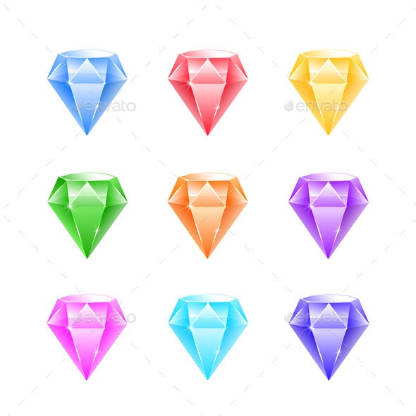 Gems And Diamonds Icons Set - Objects Vectors