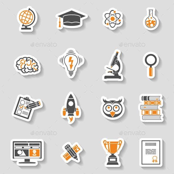 Education Icon Sticker Set