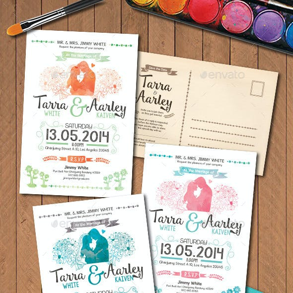 Watercolor Post Card Wedding Invitation