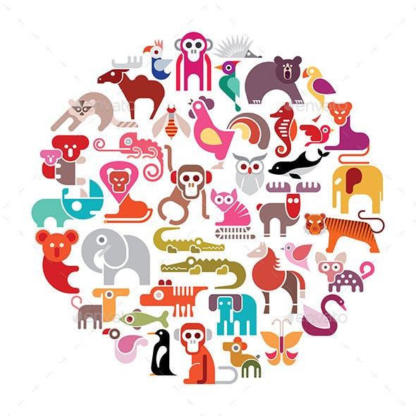 Animal Round Illustration