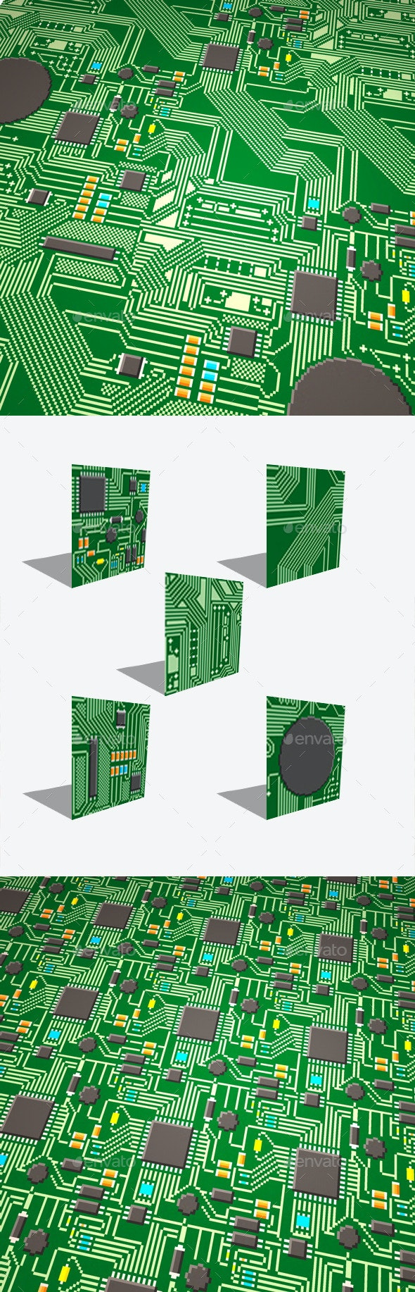 5 Circuit Board Pixel Seamless Modular Textures - Tilesets Game Assets