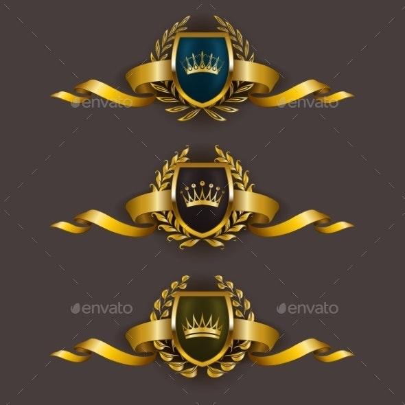 Golden Shields with Laurel Wreath - Decorative Symbols Decorative