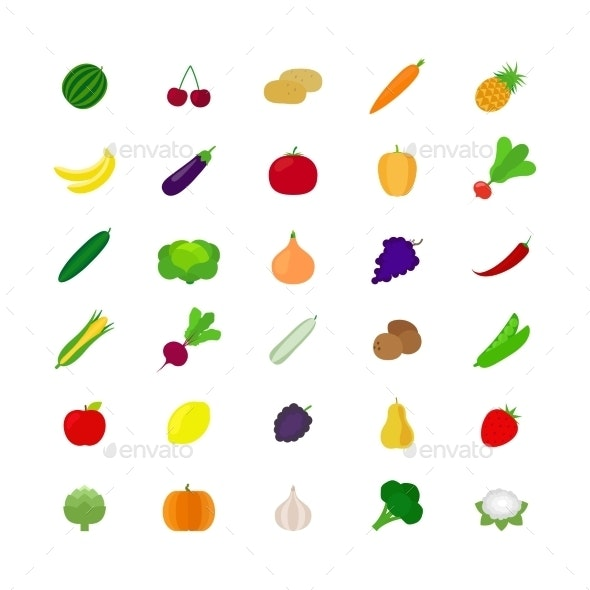 Vegetables and Fruit Flat Icons - Food Objects