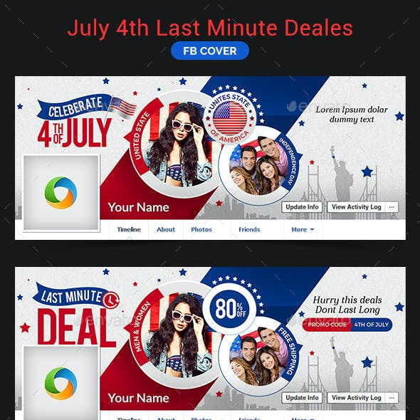 July 4th Last Minute Deals Facebook Cover