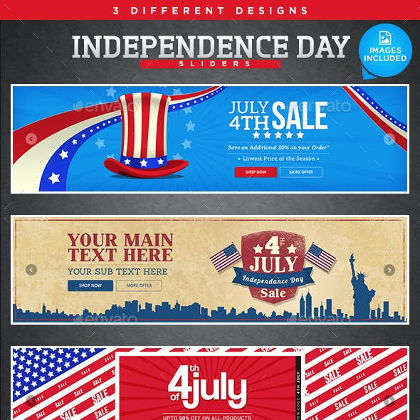 Independence Day Sliders - 3 Designs