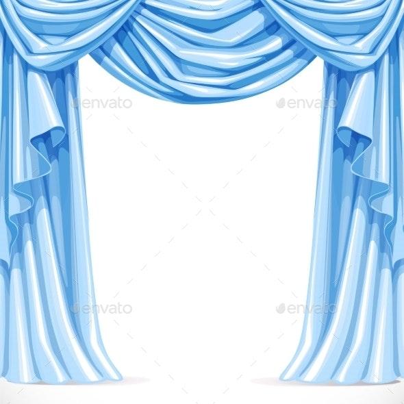 Big Blue Curtain Draped with Pelmet - Backgrounds Decorative