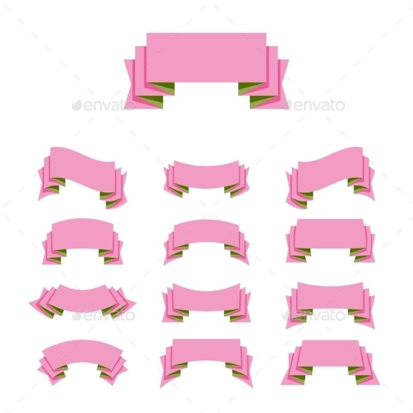 Ribbon Simple Style Set - Decorative Symbols Decorative