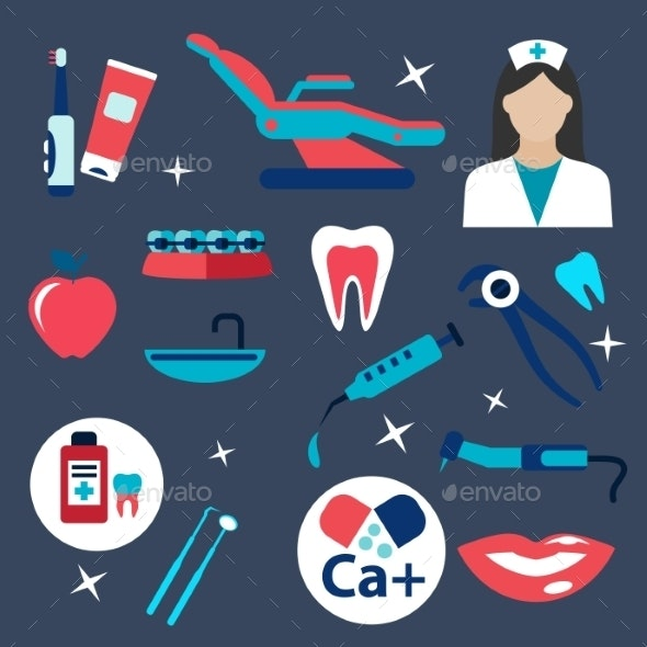 Dentistry And Hygiene Flat Icons - Health/Medicine Conceptual