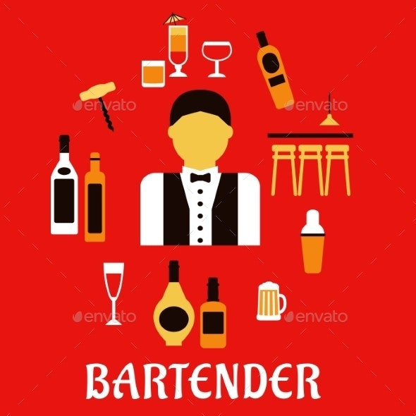 Bartender With Cocktails. Profession Flat Concept - Services Commercial / Shopping