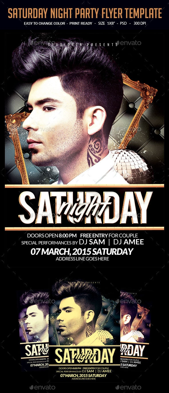Saturday Night Party Flyer Template - Clubs & Parties Events