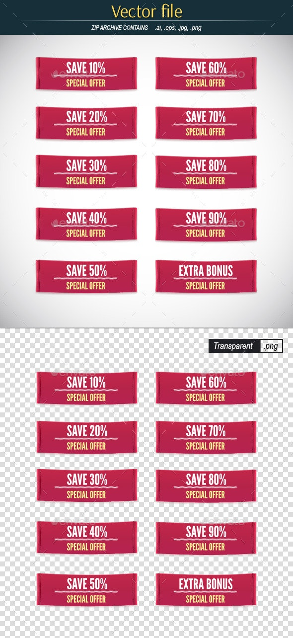 Set of Clothes Label with Sale Percentage - Commercial / Shopping Conceptual