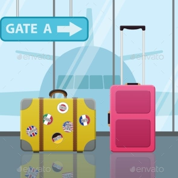 Travel Suitcases In Airport With a Plane