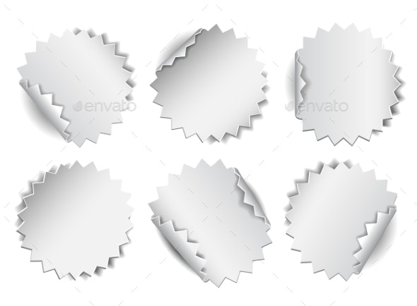 Set Of Paper Stickers On White Background. - Web Technology