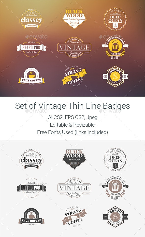 Set of Vintage Badges - Badges & Stickers Web Elements