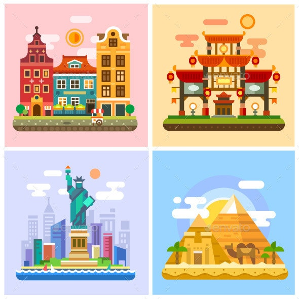 Capitals And Parts Of The World - Travel Conceptual