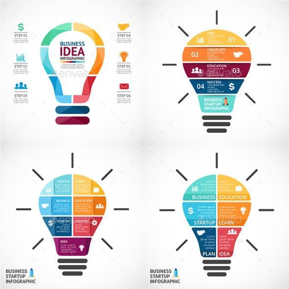 4 Light Bulbs Infographics