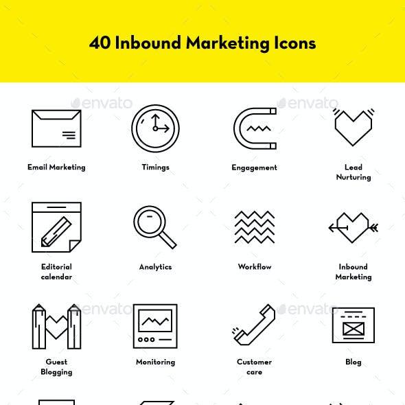 40 Inbound Marketing Icons