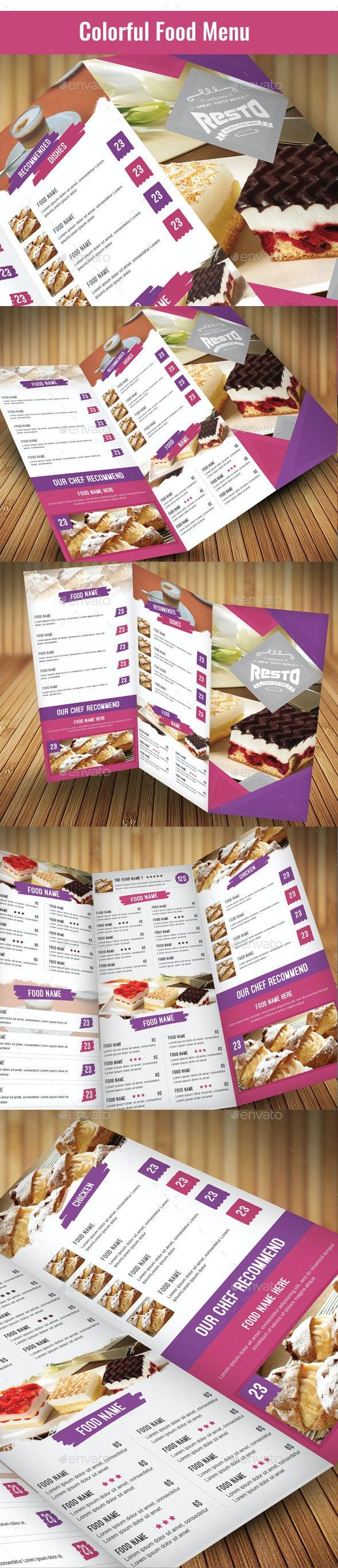 Colorful Food Menu  - Food Menus Print Templates