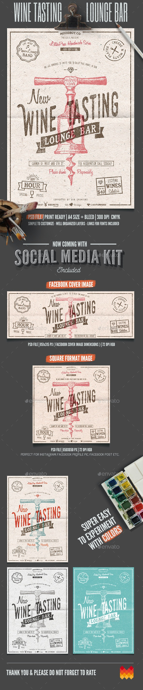 Wine Tasting Lounge Flyer/Poster - Flyers Print Templates