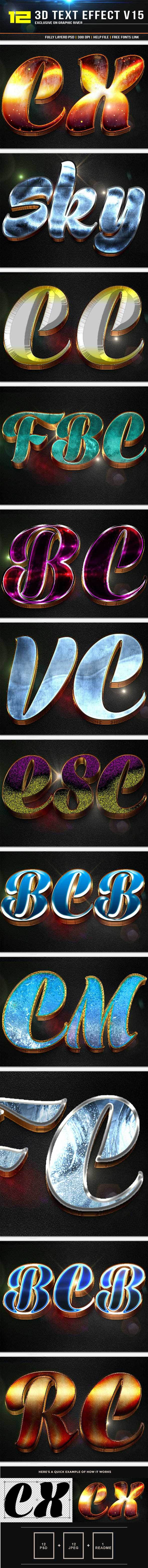 12 3D Text Effect v15 - Text Effects Styles